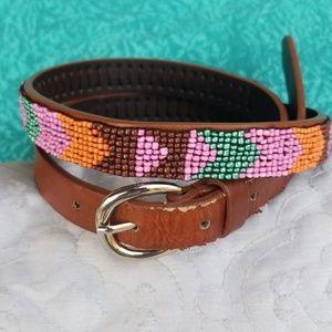 VTG Boho Beaded Leather Belt